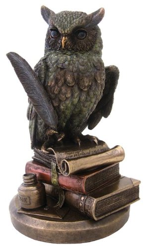 Eagle Owl Standing on Books Decorative Figurine