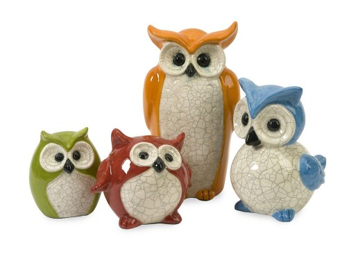Colorful Ceramic Owls Figurines