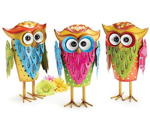 Set of 3 Whimsical Tin Owl Figurines