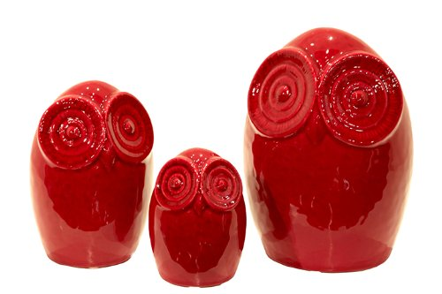 Ceramic Red Glaze Finish Owl Figurines
