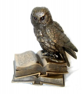 Bronze Owl on Book