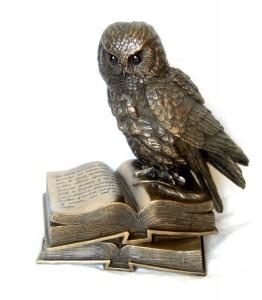 Bronze Owl on Book