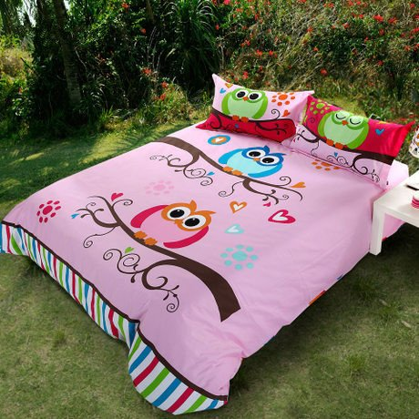 pink owl bedding set for girls