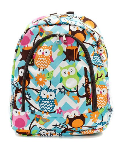 Owl Chevron Stripe Large Canvas Backpack Handbag