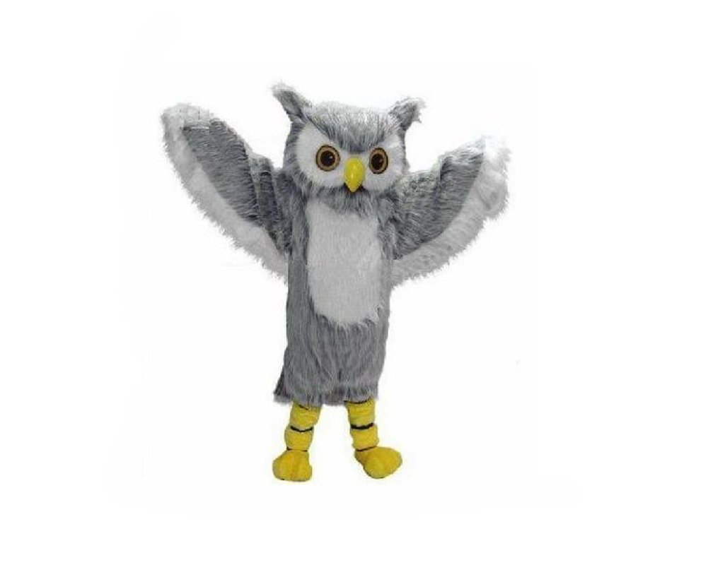 grey owl mascot suit for adults