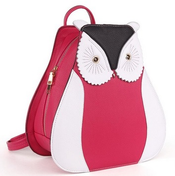owl shaped leather school bag for teens