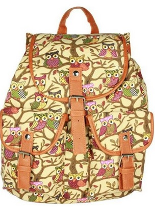 Retro Owl Print Canvas Backpack