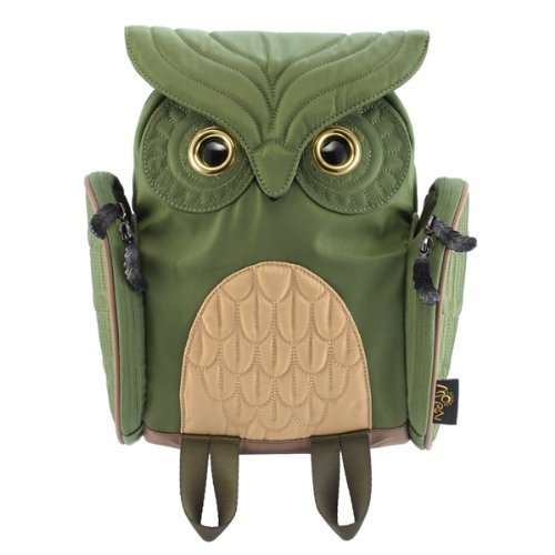 olive green owl shaped backpack