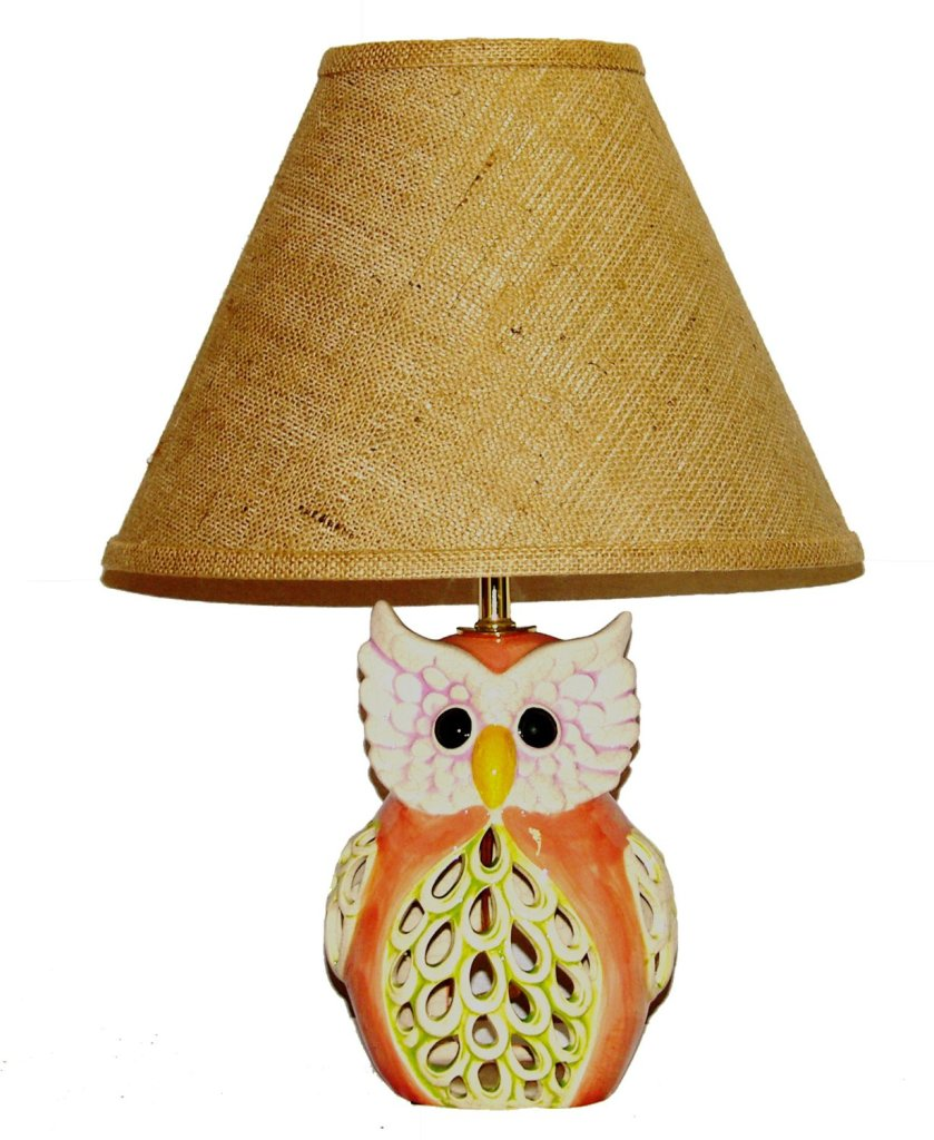 Cute Owl Lamp with Brown Burlap Shade