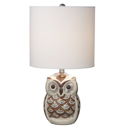 Pack of 2 Rustic-Style Brown Owl Ceramic Table Accent Lamps