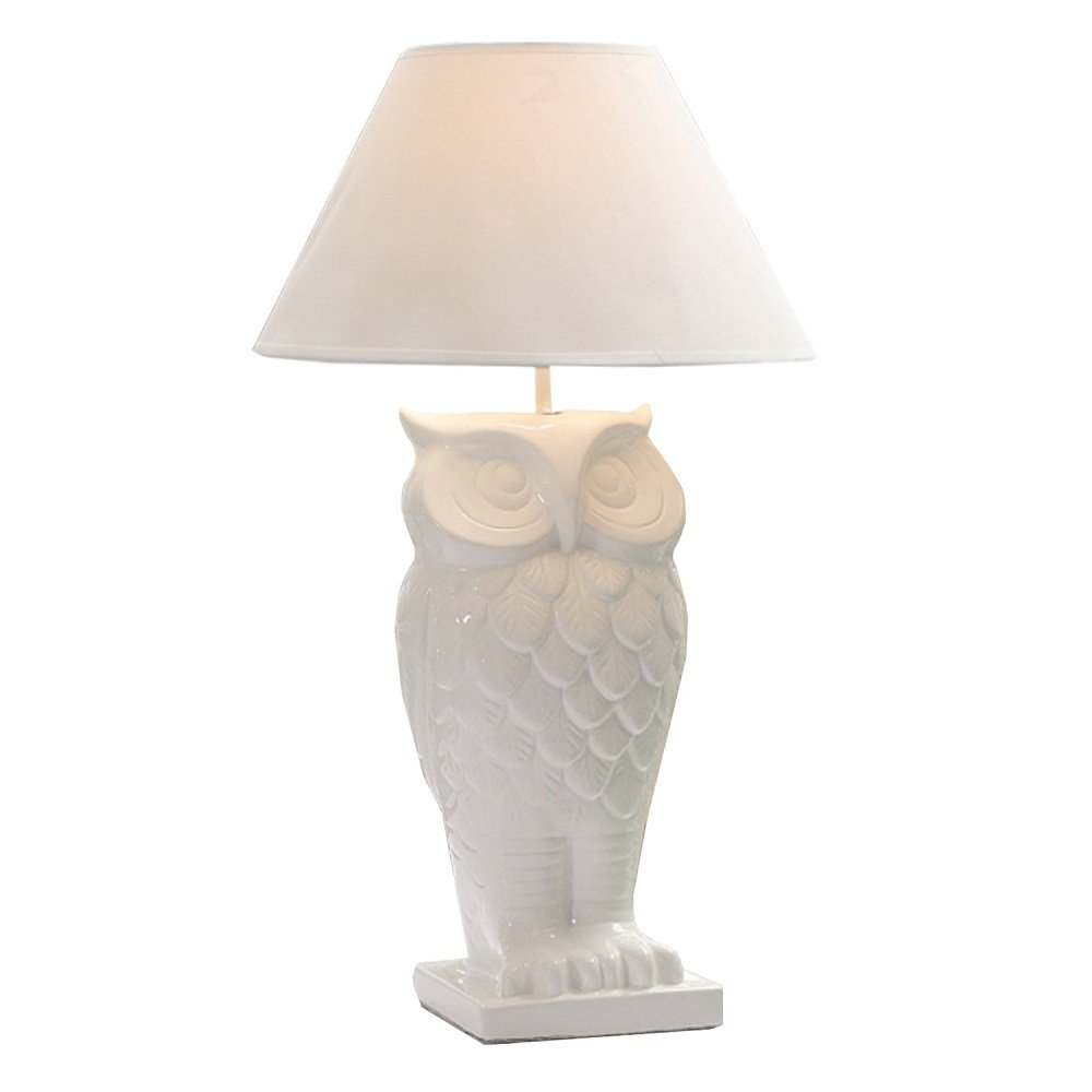 White Dolomite Owl Table Lamp with Shade