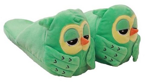 Cute Green Owl Velvet Slippers