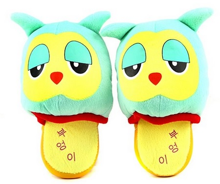 colorful plush owl slippers for girls