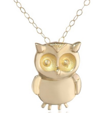 14k Yellow Gold Small Owl Pendant Necklace