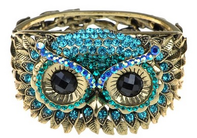 Sparkly Blue Owl Face Bracelet