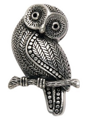 Sterling Silver Owl Perched on Branch Pin