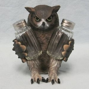 Owl Figurine Salt and Pepper Shaker Holder
