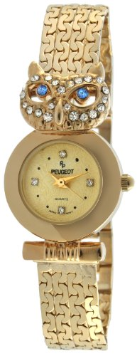 Peugeot Women's Crystal Owl Head Japanese Quartz Gold Watch