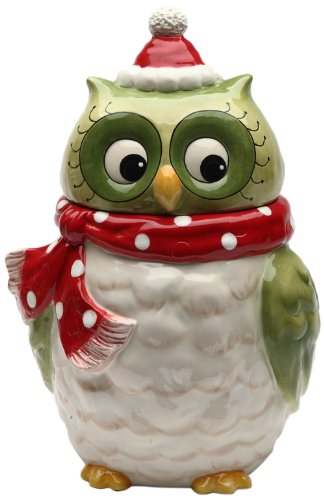 Beautiful Owl Design Ceramic Holiday Cookie Jar
