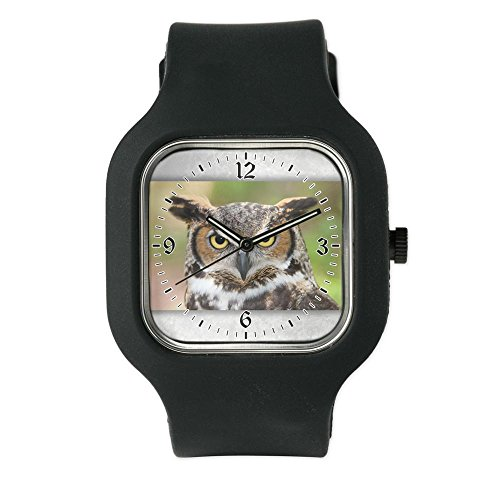 Great Horned Owl Black Sports Watch