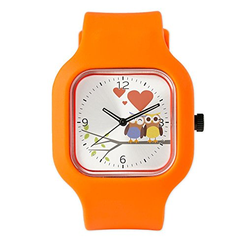 Bright Orange Sports Owls in Love Watch