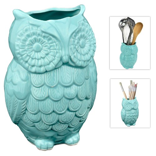 Cute Aqua Blue Owl Utensil Holder