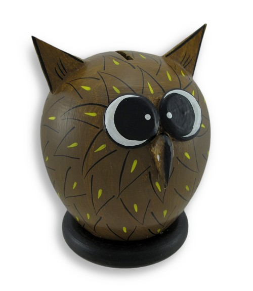 wooden owl shaped piggy bank