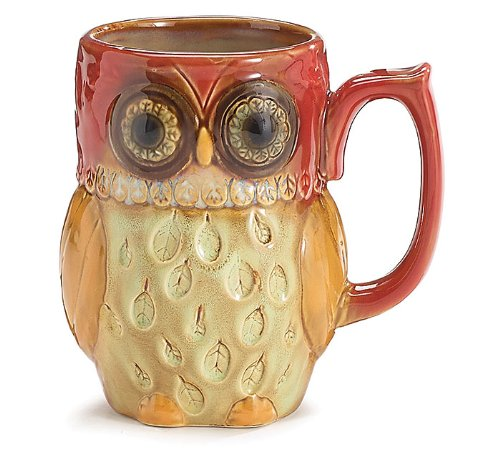 Gorgeous Handpainted Porcelain Owl Shaped Mug