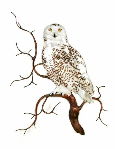 Snowy Owl on Branch - Metal Wall Sculpture