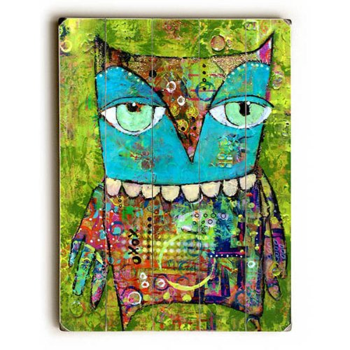 Colorful Owl Planked Wood Sign
