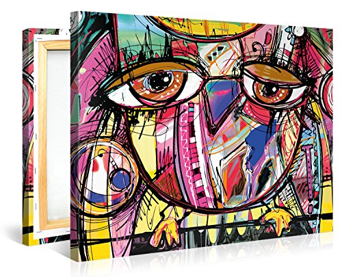 Colorful OWL DOODLE Abstract Canvas Print