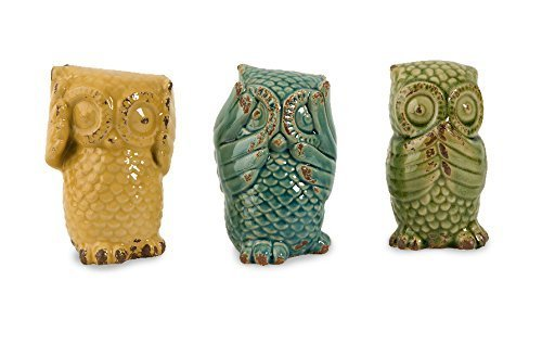 Retro Style Ceramic Wise Owls Figurines Set