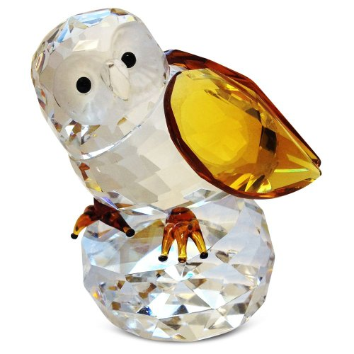 Cute Crystal Owl Figurine with Amber Wings