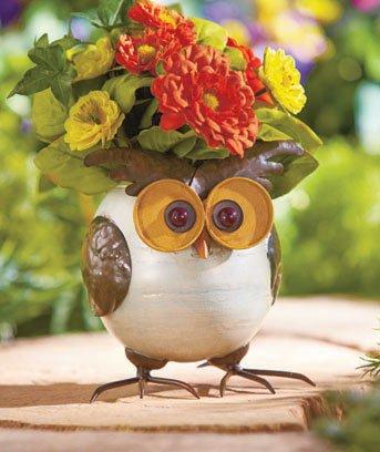 Cute Metal Owl Planter