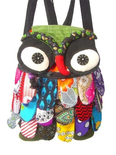 Colorful OWL Patchwork Backpack