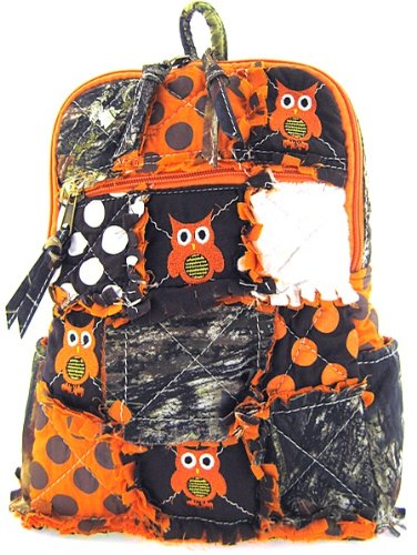 Quilted Orange Owl Print Backpack