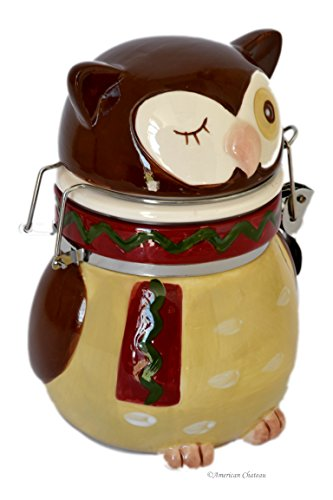 Ceramic Owl Shape Biscotti Canister Cookie Jar