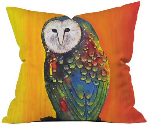 Artistic Barn Owl on Sunset Throw Pillow