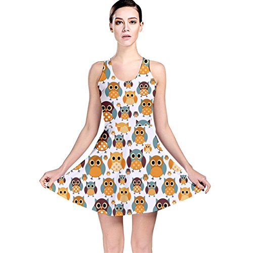Owl Pattern Skater Dress for Teen Girls