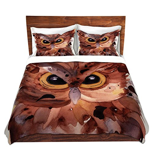 Artistic Brown Owl Face Brushed Twill Duvet Cover