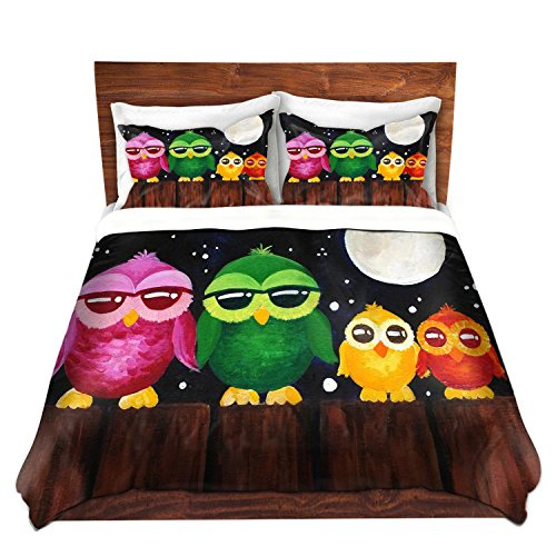 Colorful Owls on a Fence Brushed Twill Duvet Cover Set