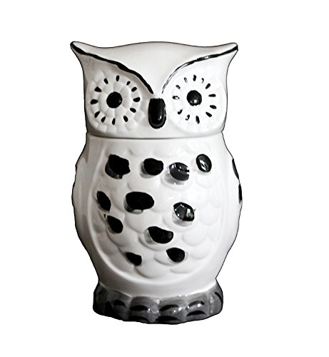 Black and White Owl Shaped Ceramic Cookie Jar