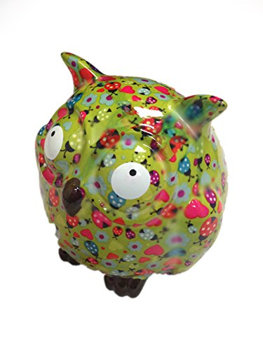Cutest Green Floral Fat Owl Piggy Bank