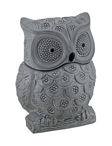 Gray Ceramic Owl Shaped Decorative Cookie Jar
