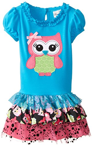 Turquoise Owl Applique Tutu Dress for Toddler Girls