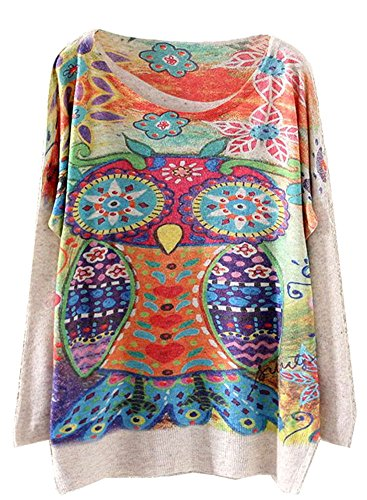 Colorful Owl Print Sweater